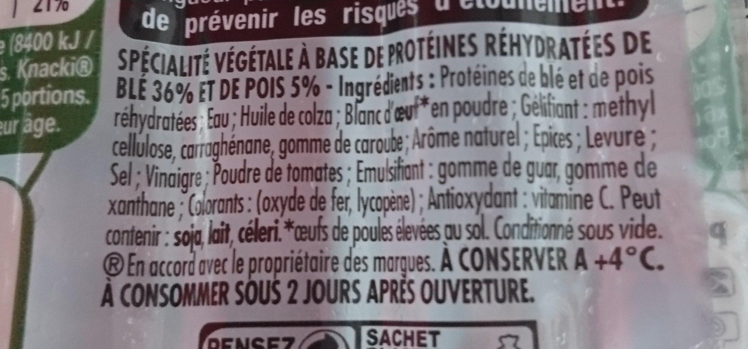 Knacki Végétale - Ingredients