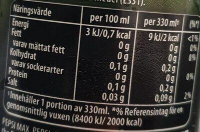 Pepsi Max Lime - Voedingswaarden - sv