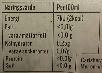 Apotekarnes Julmust Sockerfri - Nutrition facts