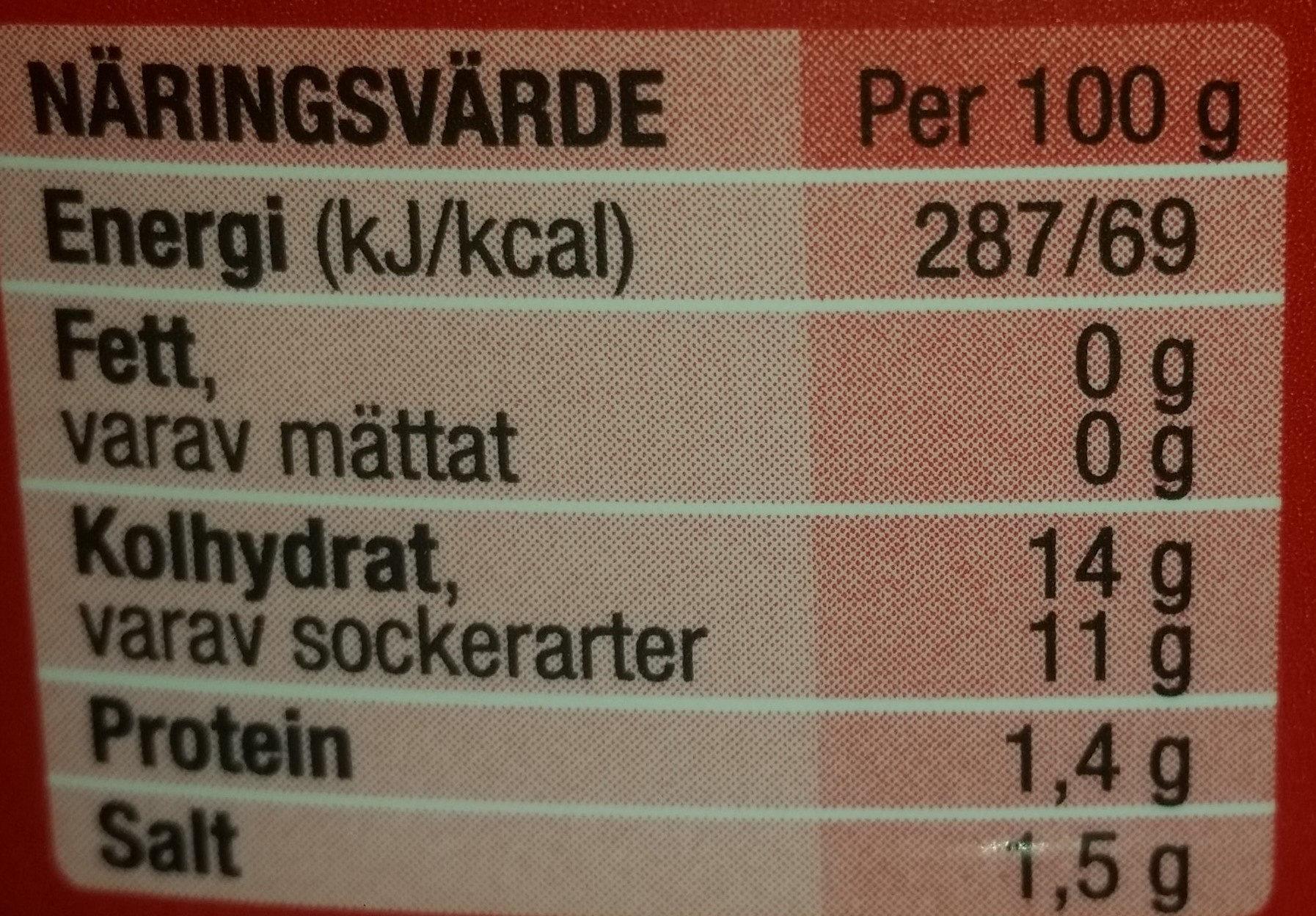 Tomatoketchup ekologisk mindre socker & salt - Voedigswaarden