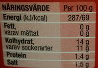 Tomatoketchup ekologisk mindre socker & salt - Voedingswaarden - sv