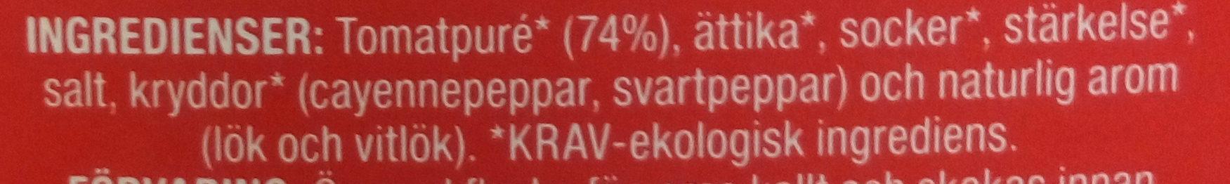 Tomatketchup - Ingredients - sv