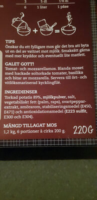 Felix Klassisk Potatismos - Ingrédients