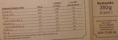 Grandiosa X-tra Allt Kebab - Nutrition facts