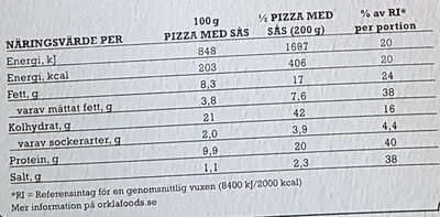 X-tra allt + Sås Stenugnsbakad Pizza Kebab - Nutrition facts - sv