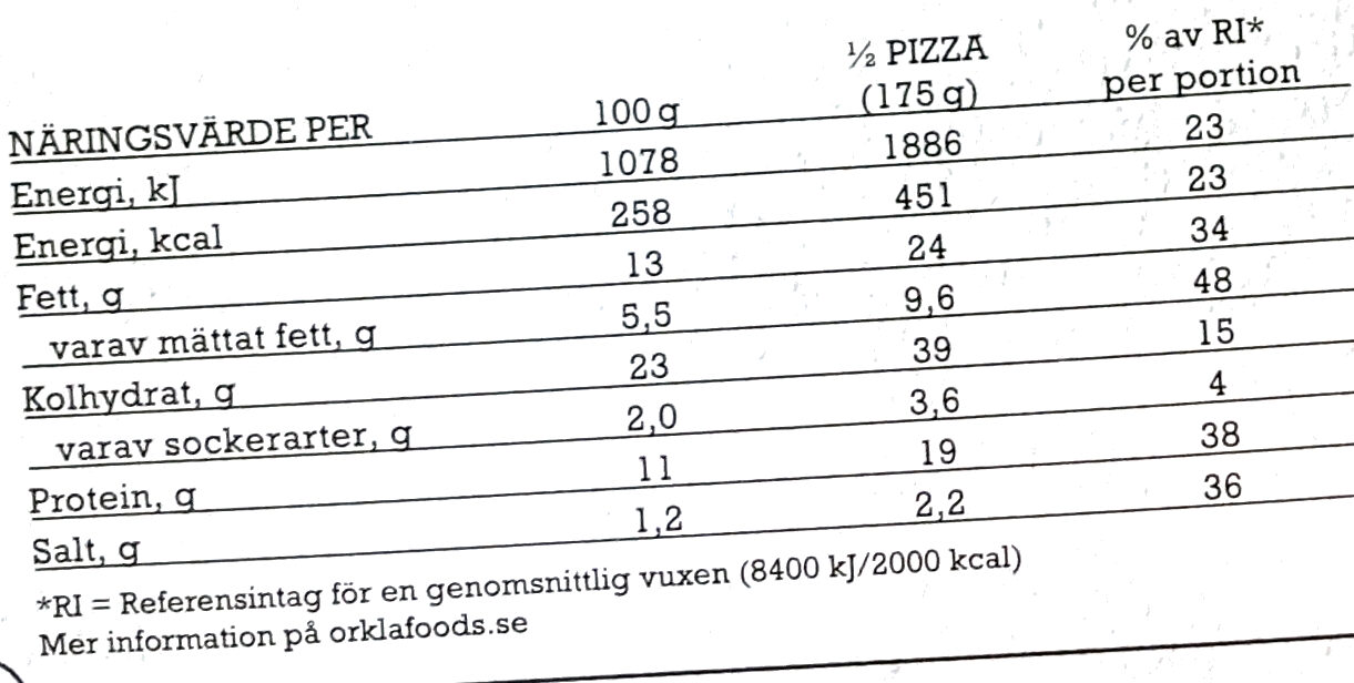 Grandiosa - X-tra Allt - Chili Cheese 'n Bacon - Informations nutritionnelles - sv