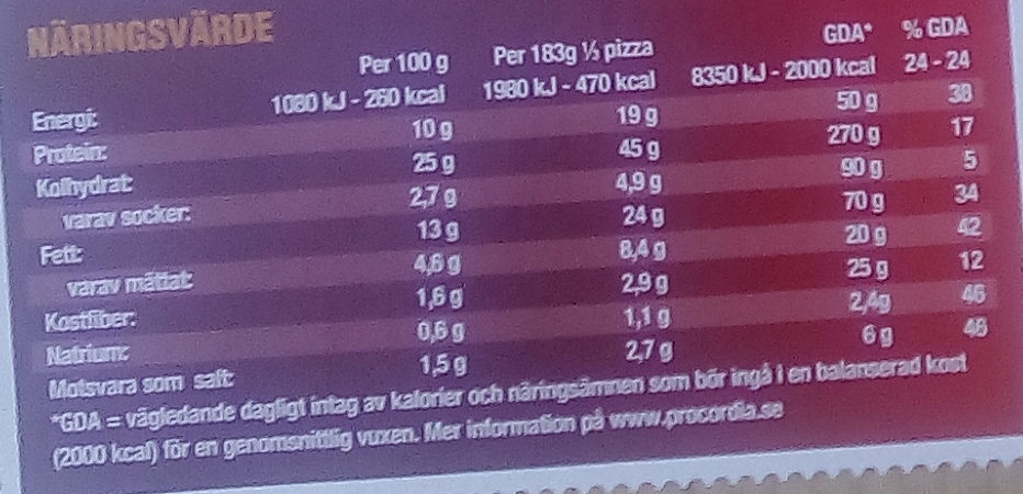 Grandiosa X-tra Allt Hämtpizza Bolognese - Nutrition facts