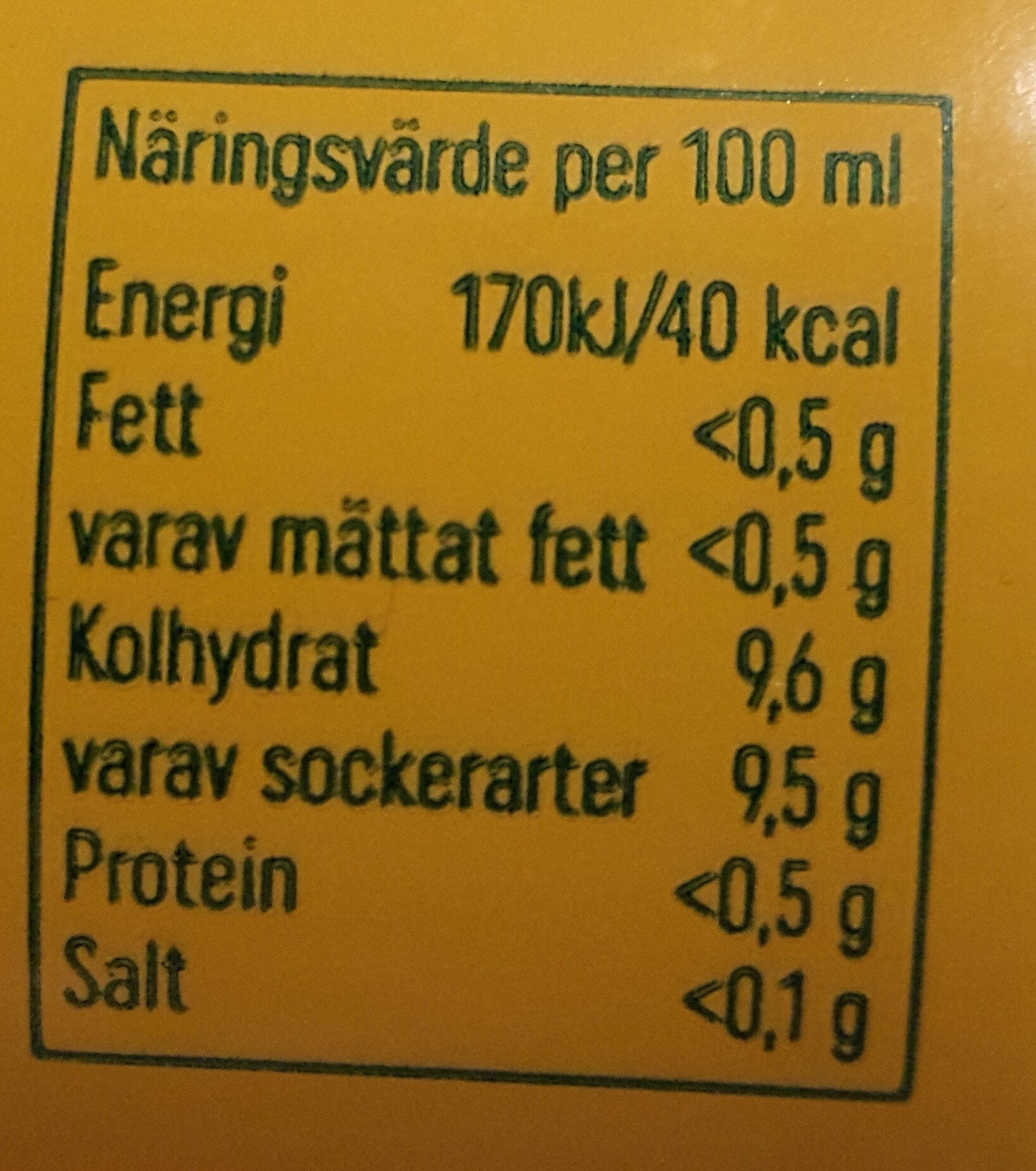 Trocadero - Nutrition facts - sv