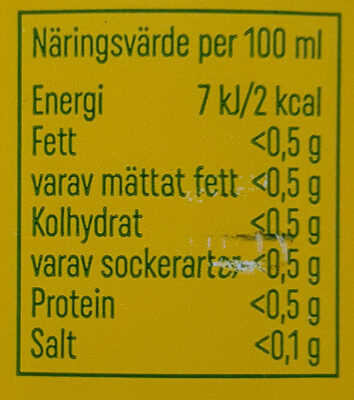 Trocadero Zero Sugar - Nutrition facts - sv