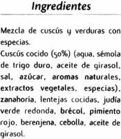 Cuscús Nador congelado - Ingredientes