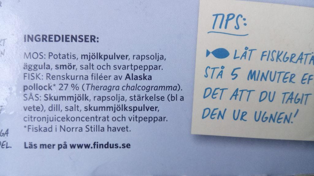 Findus Fiskgratäng Dill Original - Ingredients