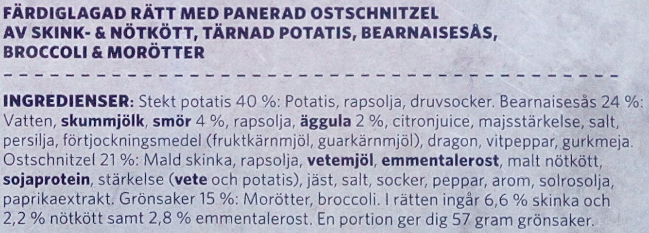 Findus Dagens Ostschnitzel - Ingredients - sv
