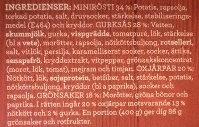 Findus Dagens Oxjärpar - Ingredients - sv
