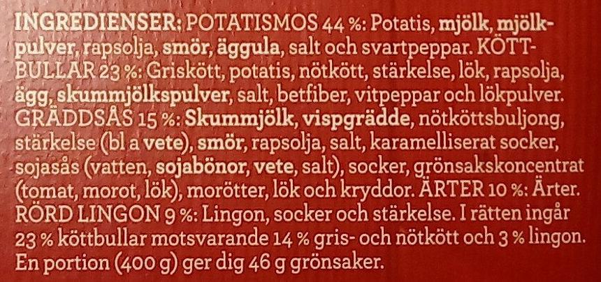 Findus Dagens Köttbullar - Ingredients