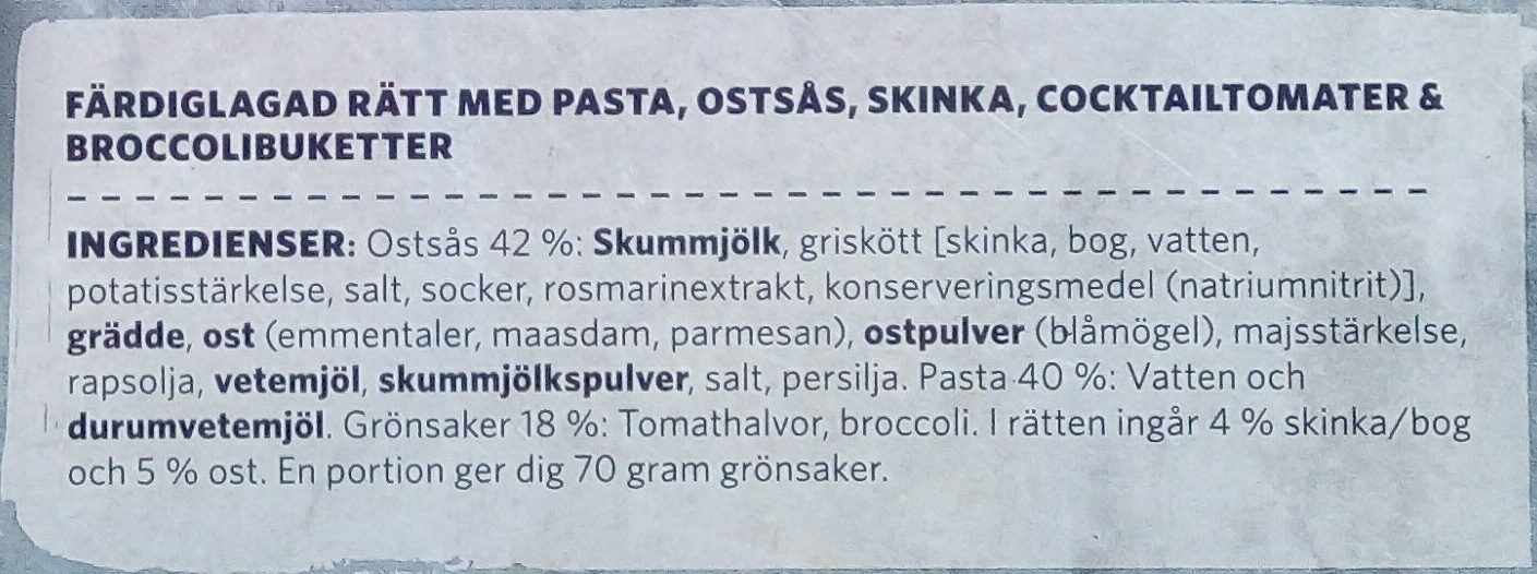 Findus Dagens Pasta fyra ostar - Ingrédients - sv