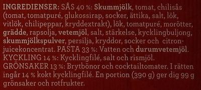 Findus Dagens Pasta med kyckling - Ingrédients