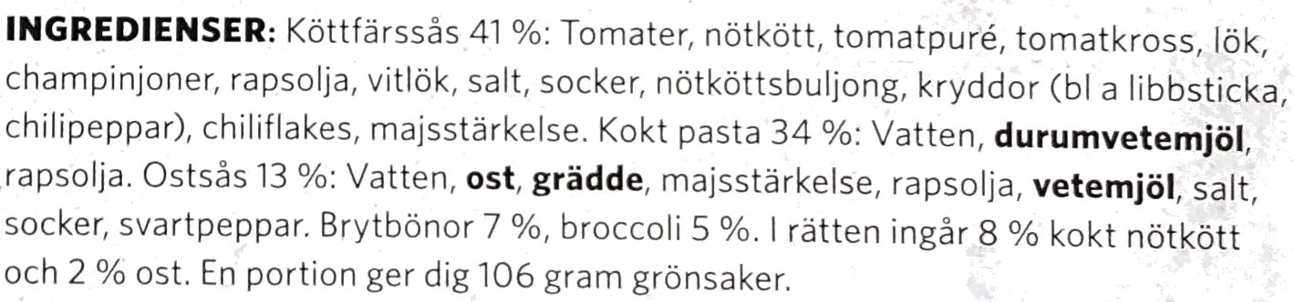 Findus Dagens Lasagnette - Ingredients - sv