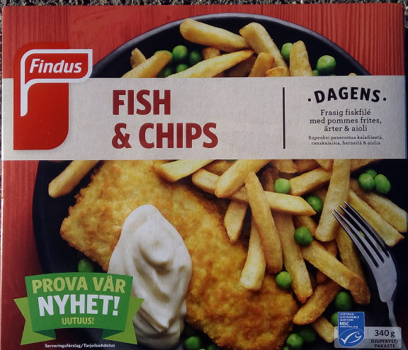 fish and chips kalorier