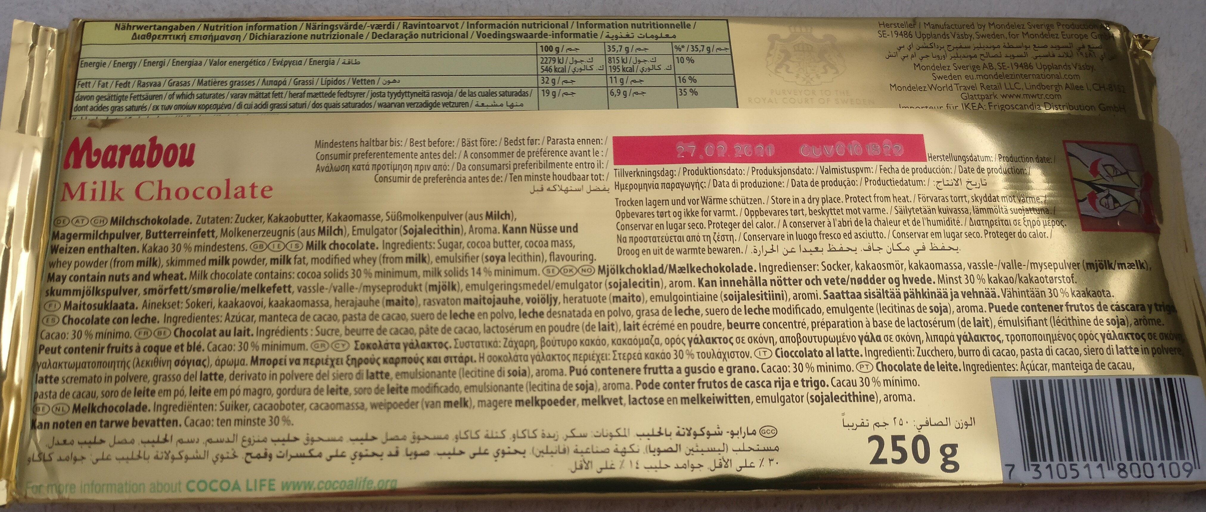 Marabou Mjölk chokolad - Ingredienser - de