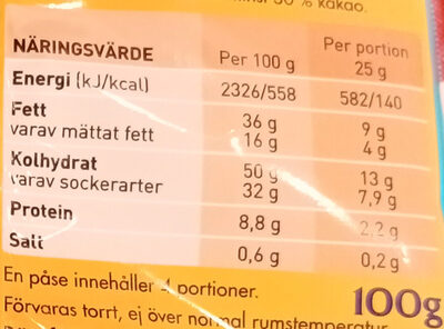 OLW choco cheez - Informations nutritionnelles - sv