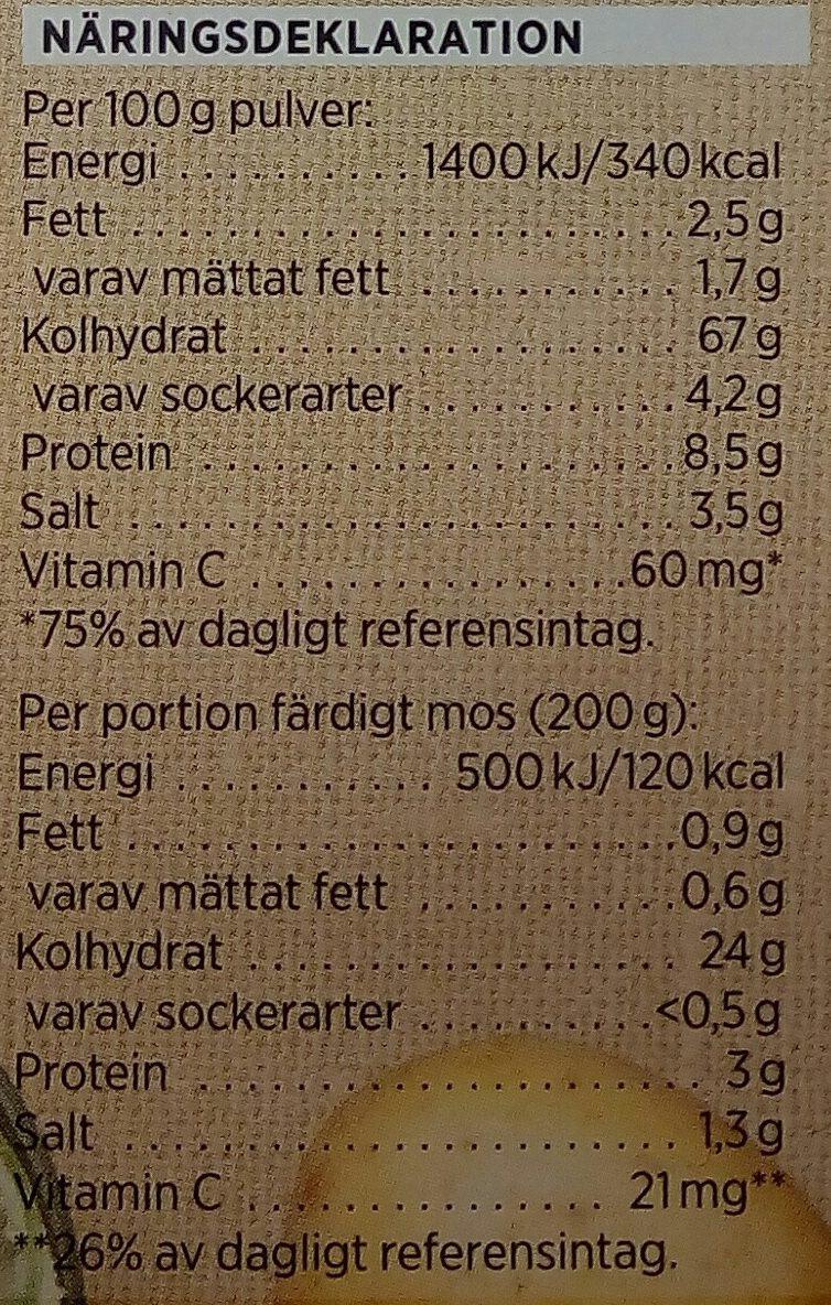 ICA Potatismos - Informations nutritionnelles - sv