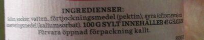 Hallonsylt - Ingrediënten - sv