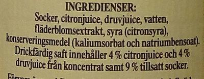 Önos Extra Prima Fläderblomsaft - Ingredients