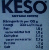 KESO Cottage Cheese Mini Naturell - Voedingswaarden - sv