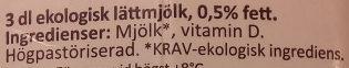 Arla Ko Ekologisk Lättmjölk - Ingrédients