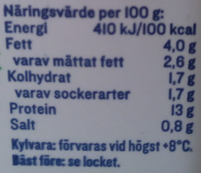 KESO Cottage Cheese Ekologisk Naturell - Informations nutritionnelles