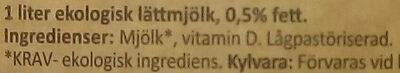 Arla Ko Ekologisk Lättmjölk - Inhaltsstoffe - sv