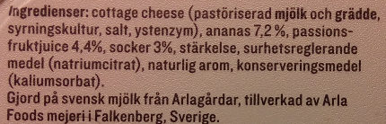 KESO Cottage Cheese Frukt Ananas & Passionsfrukt - Ingredients