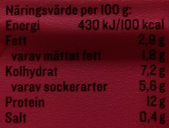 KESO Cottage Cheese Frukt Ananas & Passionsfrukt - Nutrition facts