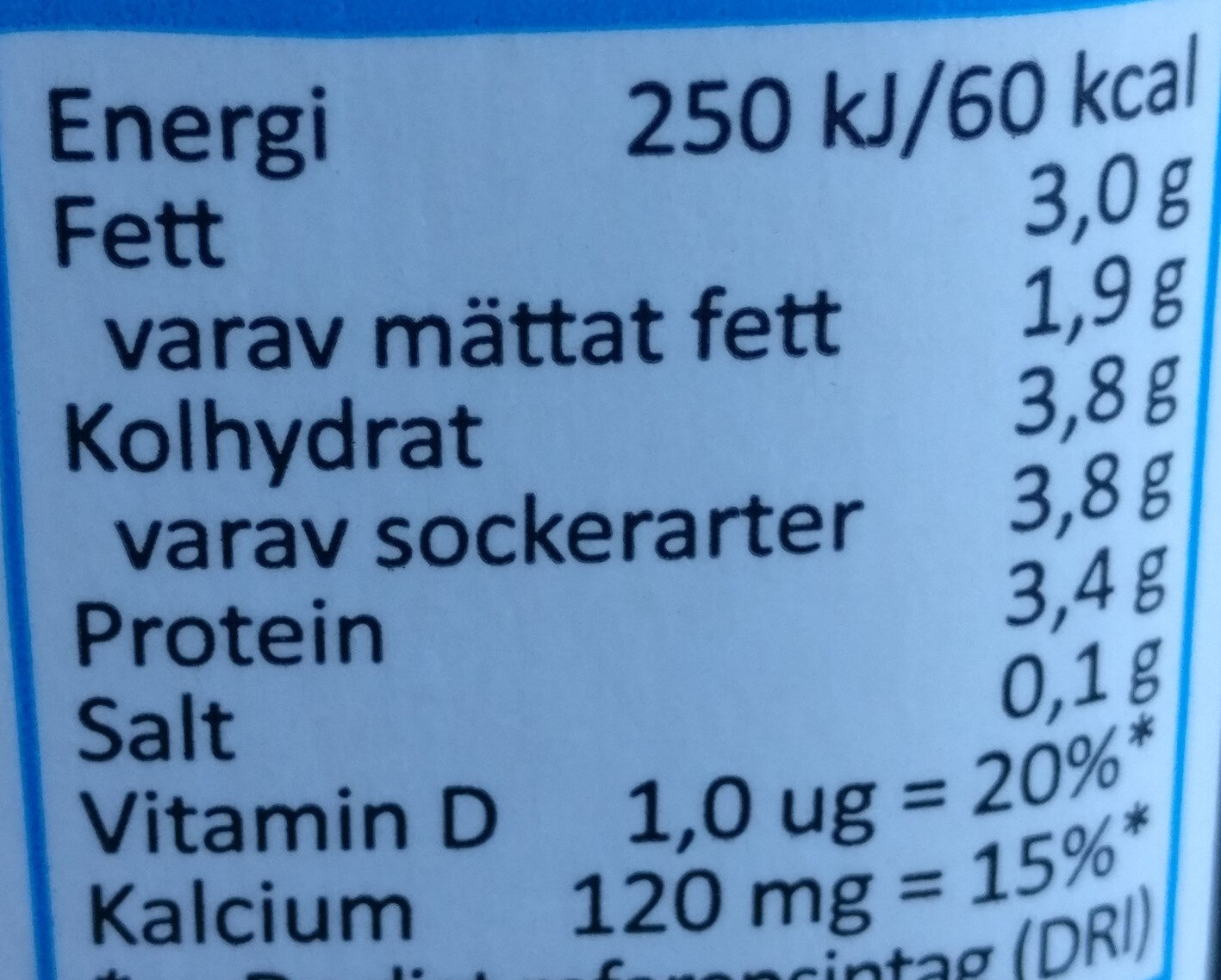 Yoghurt Naturell - Informations nutritionnelles - sv
