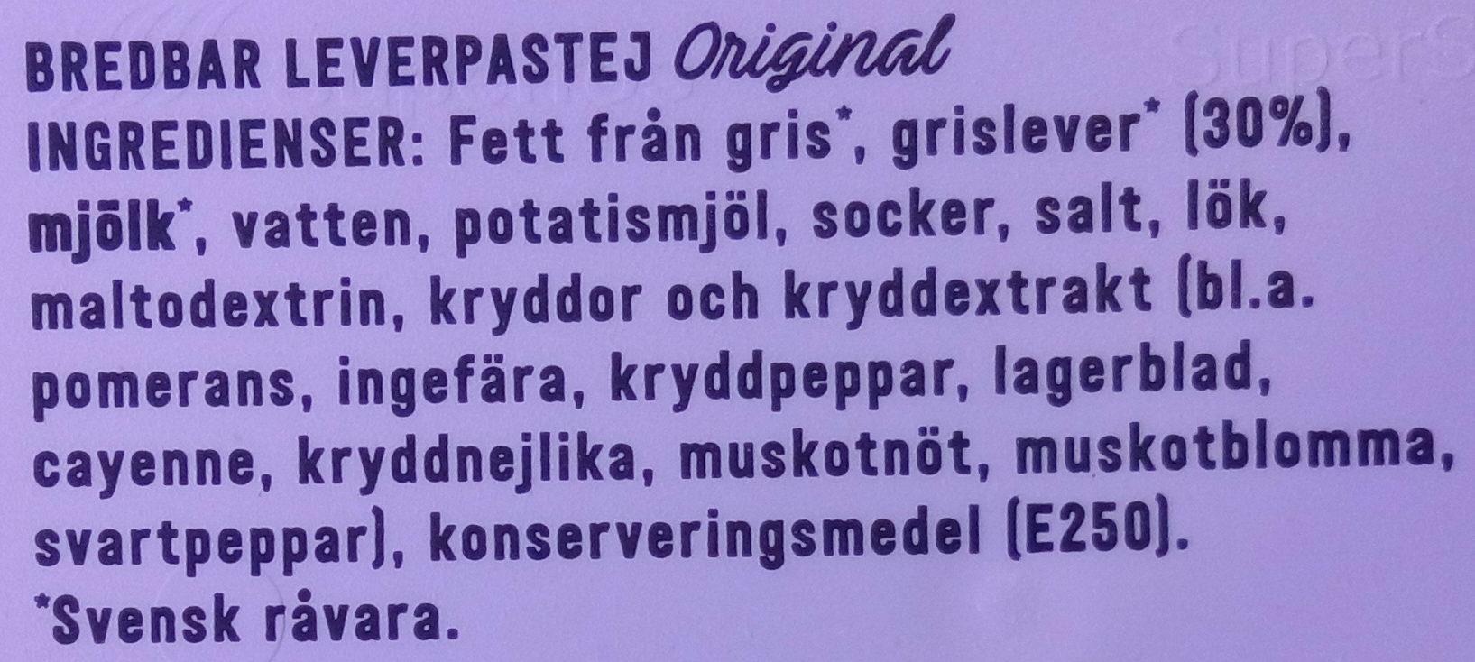Lönneberga Leverpastej Original - Ingrédients - sv