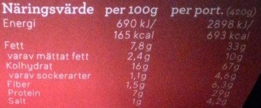 Dafgårds À la carte Spagetti Bolognese - Informations nutritionnelles