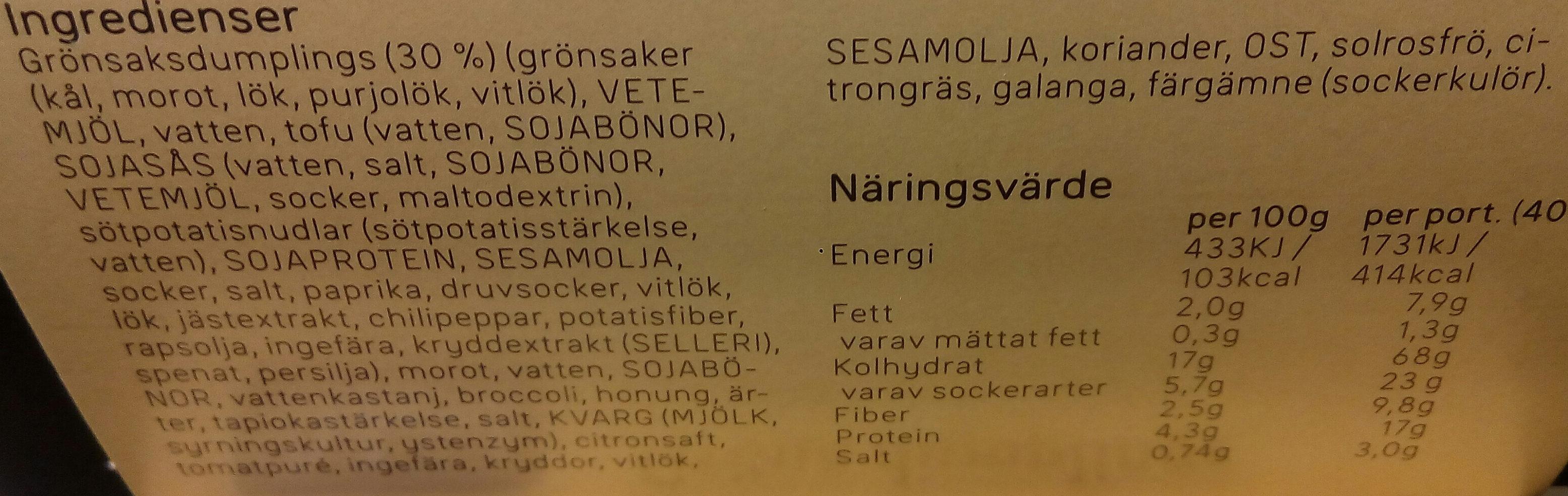 Dafgårds Gröna dumplings - Ingredients