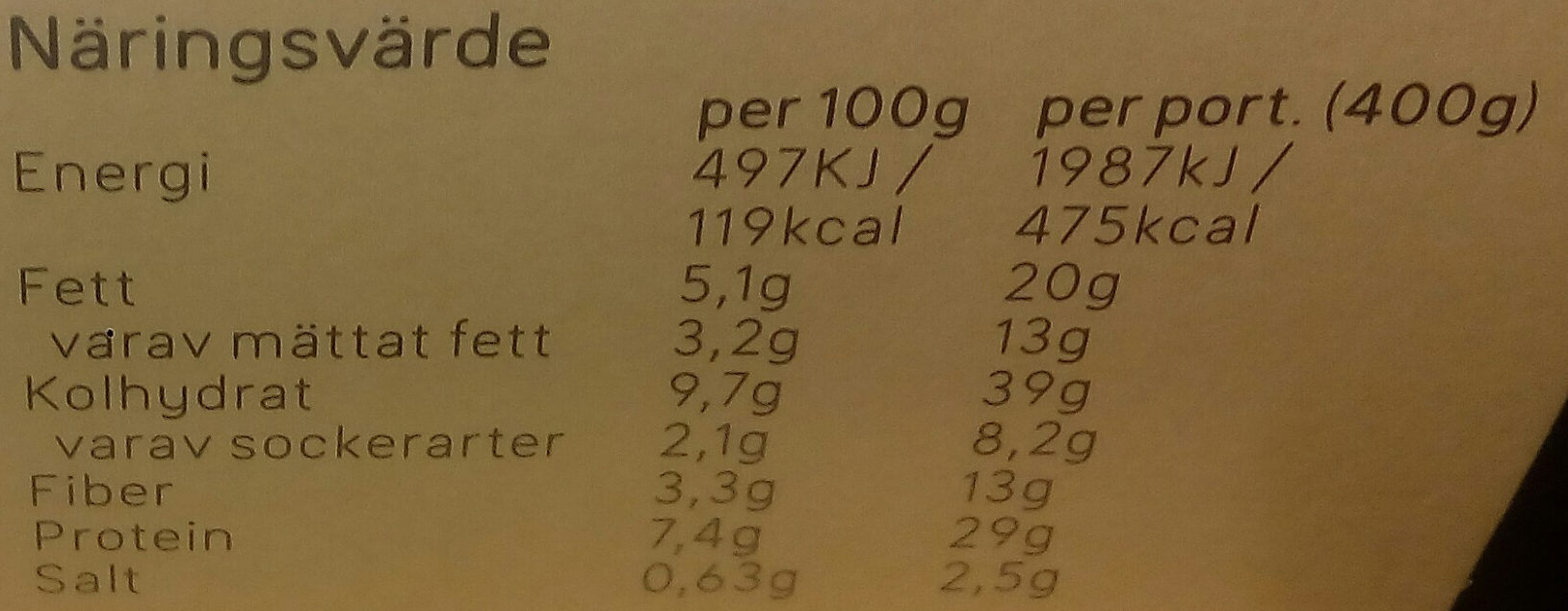 Dafgårds Biffig broccoli - Informations nutritionnelles