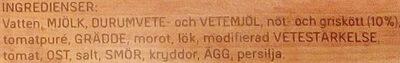 Dafgårds Lasagne i ugn - Ingrediënten - sv