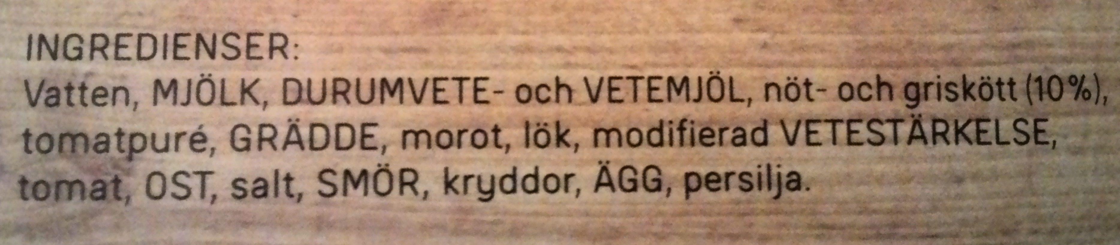 Dafgårds Lasagne i ugn - Ingrédients - sv