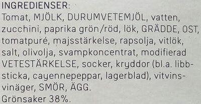 Dafgårds Karins Vegetariska Lasagne - Ingrédients - sv