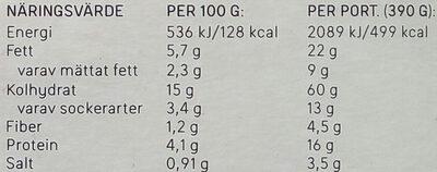 Dafgårds Karins Vegetariska Lasagne - Informations nutritionnelles - sv