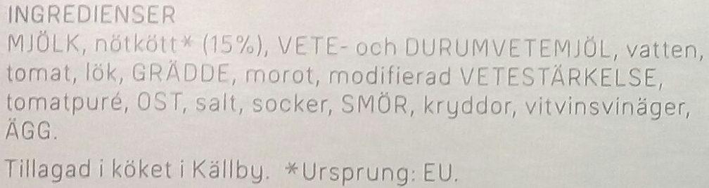 Dafgårds Karins Familjelasagne - Ingrédients - sv