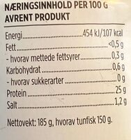 Eldorado Tunfisk i Vann - Informations nutritionnelles - en