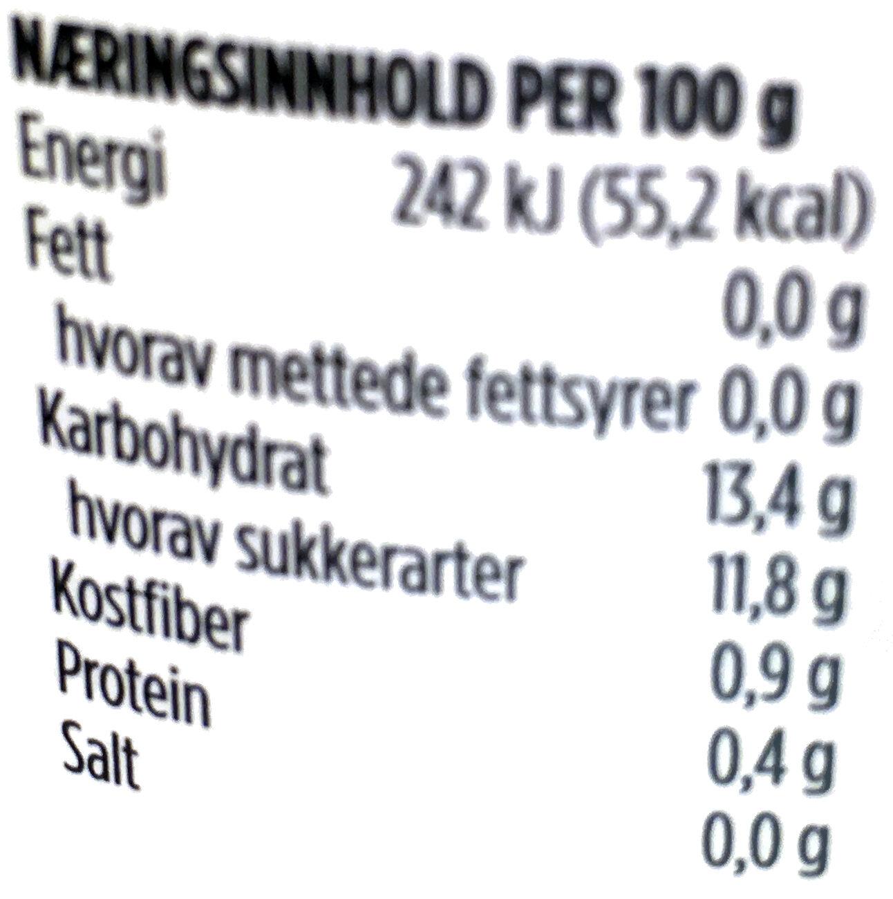 Ananas Biter i Juice - Informations nutritionnelles - nb