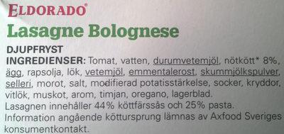 Eldorado Lasagne Bolognese - Ingredients