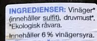 Ekologisk Balsam Vinäger - Ingrédients - sv