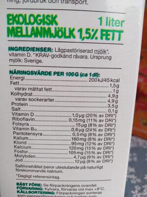 Mellan Mjölk - Informations nutritionnelles - sv