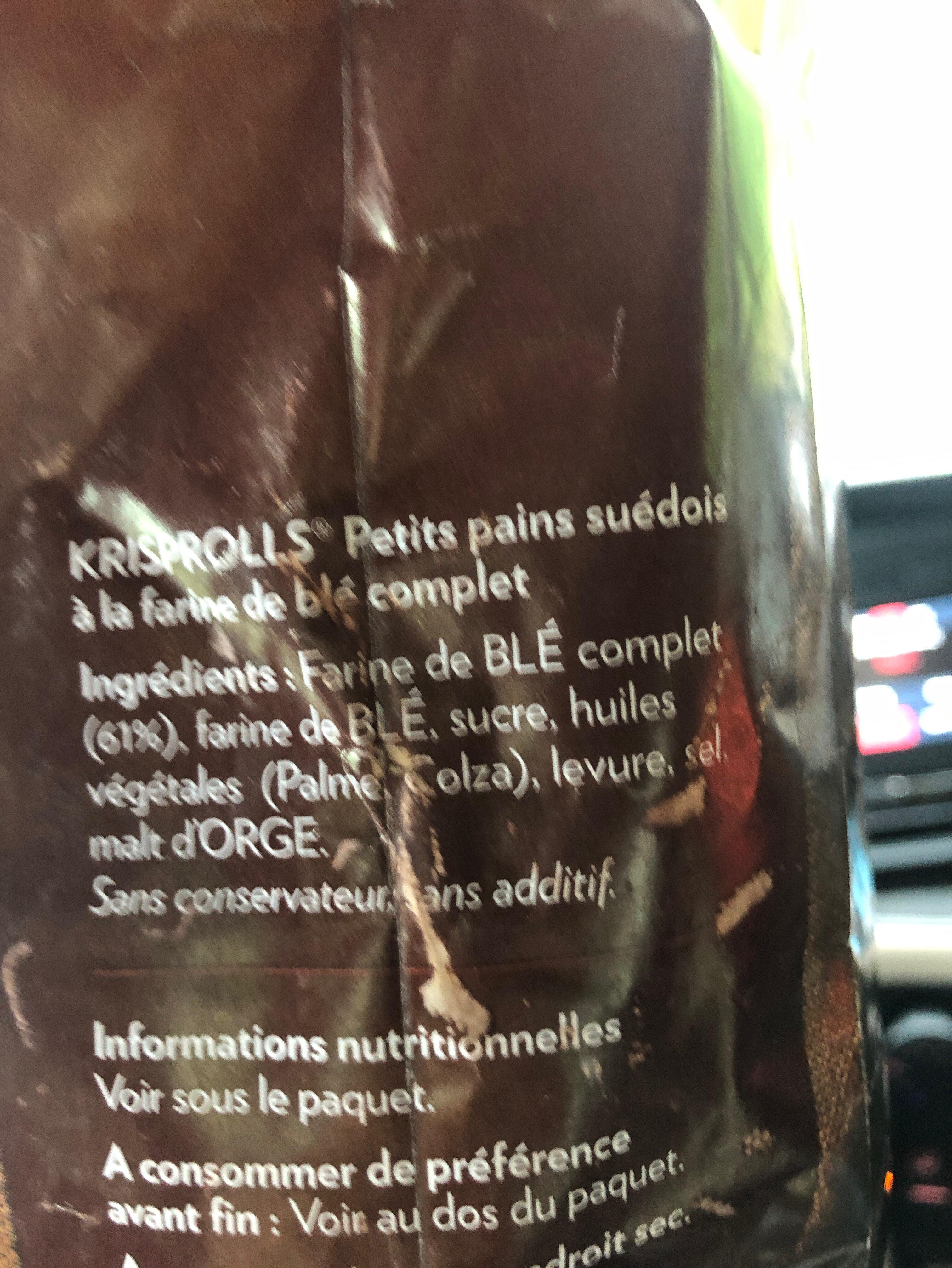 Petits Pains Suédois complets - Ingredientes - fr