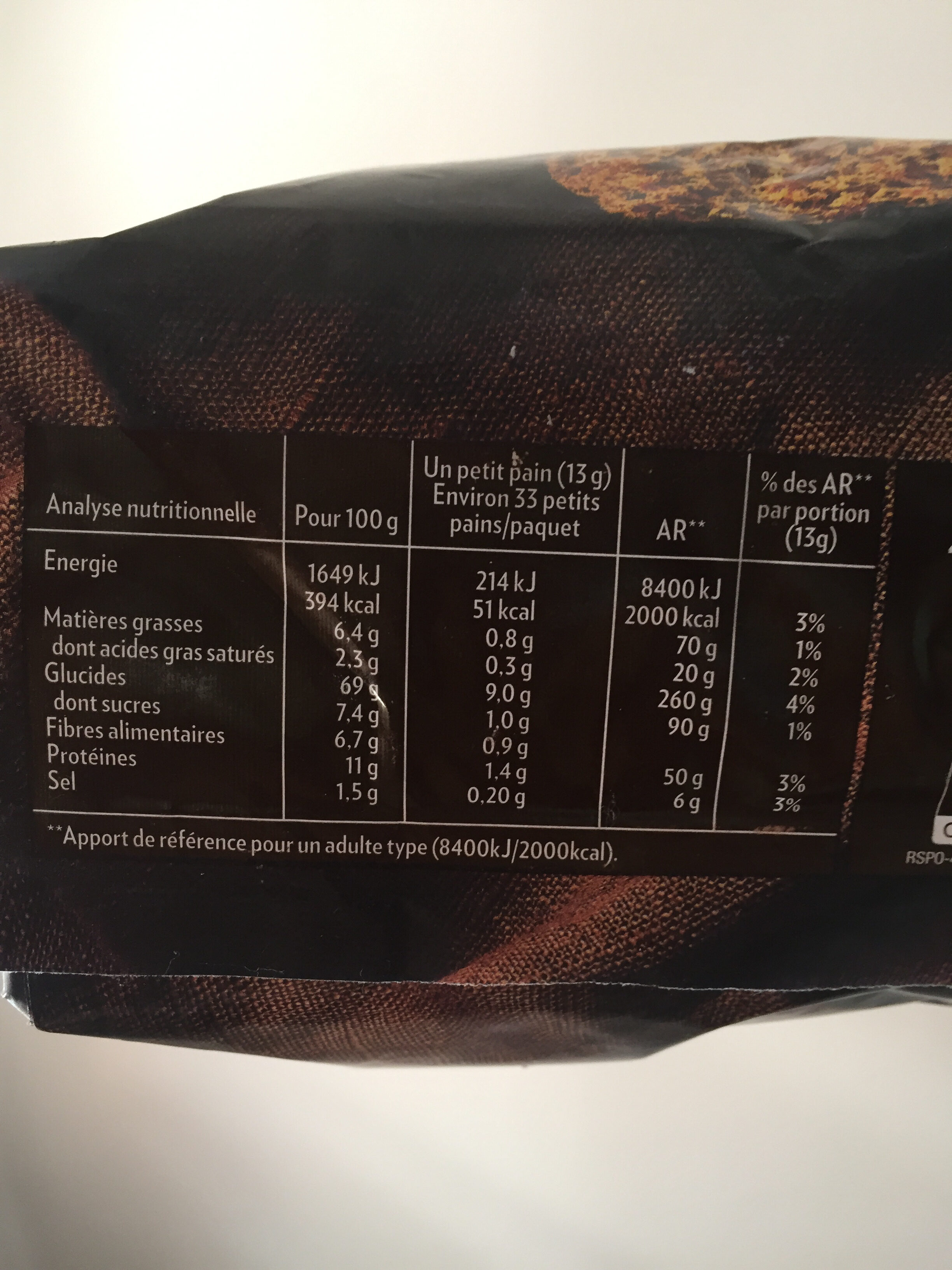 Petits Pains Suédois complets - Información nutricional - fr